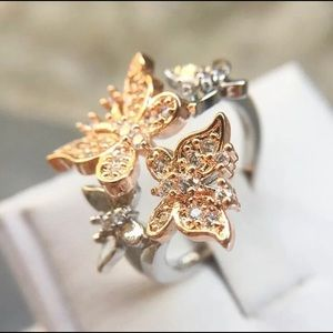 Double Butterflies Cocktail Ring